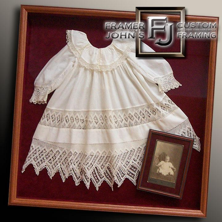 BAPTISM DRESS WITH INSET FRAMED PHOTO