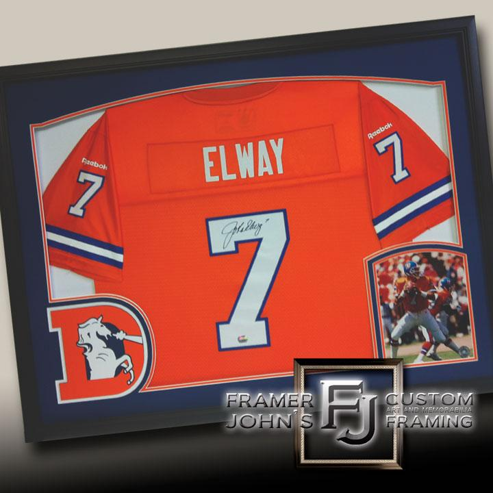 JOHN ELWAY THROWBACK JERSEY WITH LOGO AND PHOTO
